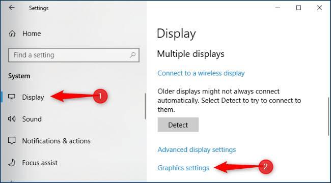 تنظیمات گرافیک ویندوز 10