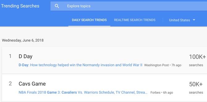 جستوجوهای اخیر گوگل