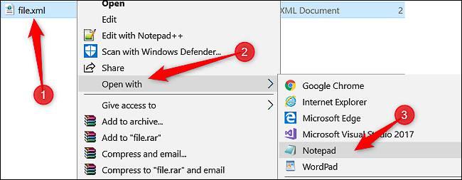 باز کردن فایل XML با استفاده از Notepad