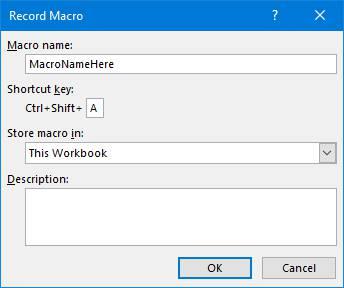انتخاب کلید میانبر برای اجرای ماکرو