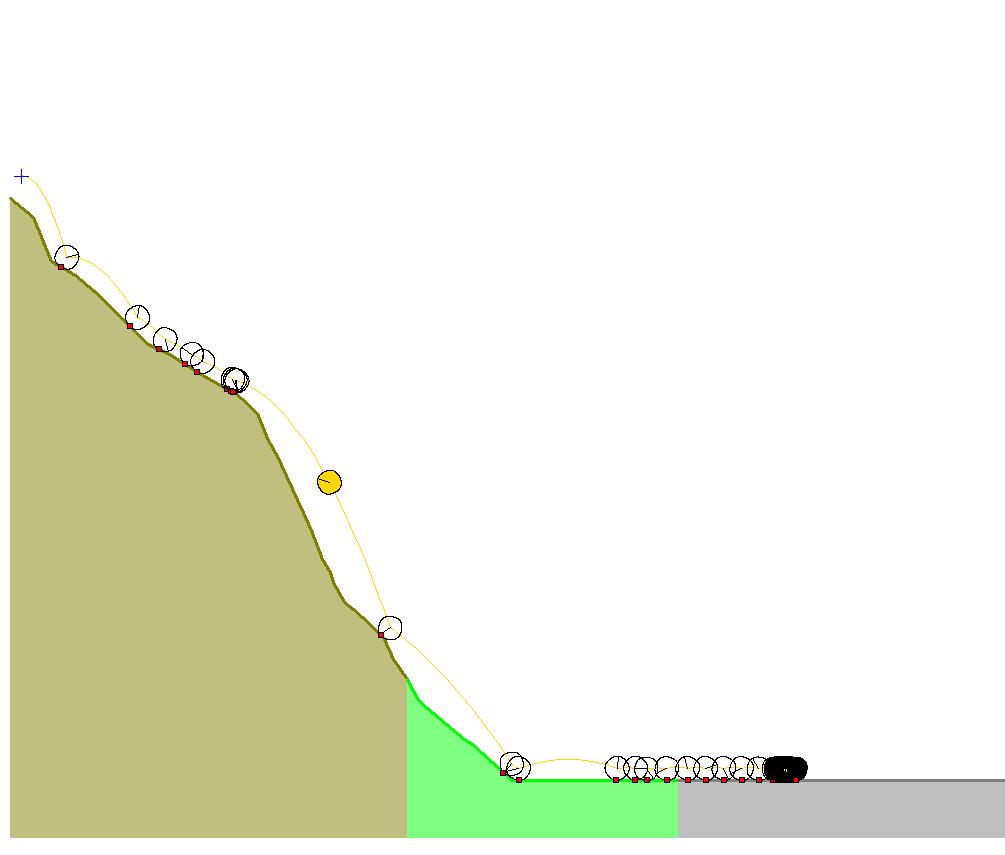 نمایش مسیر حرکت یک بلوک سنگی در نرمافزار Rocfall