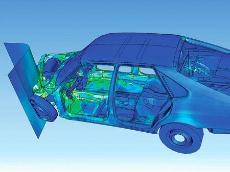 نمایش نحوه تغییر شکل یک ماشین در حین تصادف با استفاده از تحلیل المان حدی