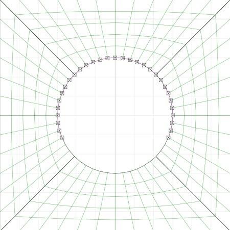 تصویر مشبندی دهانه تونل در یک نرمافزار مبتنی بر روش تفاضل محدود (المانهای چهارضلعی).