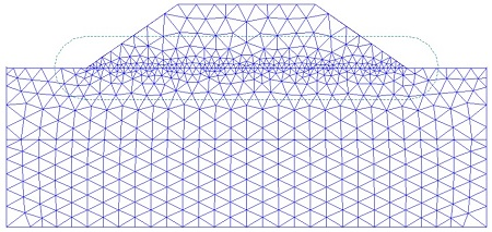نمونهای از تقسیمبندی محدوده یک مسئله مرتبط با سد به المانهای محدود