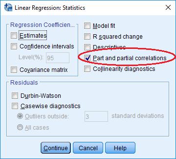 semipartial correlation option