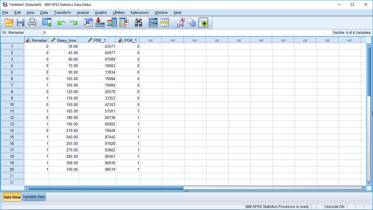spss logistic regression data editor