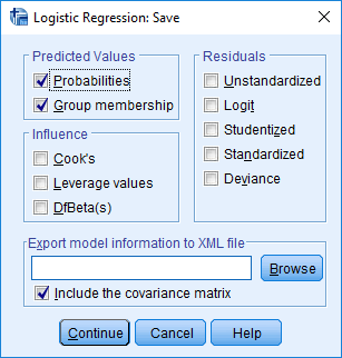 spss logistic regression save option