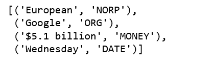 SpaCy's named entity recognition