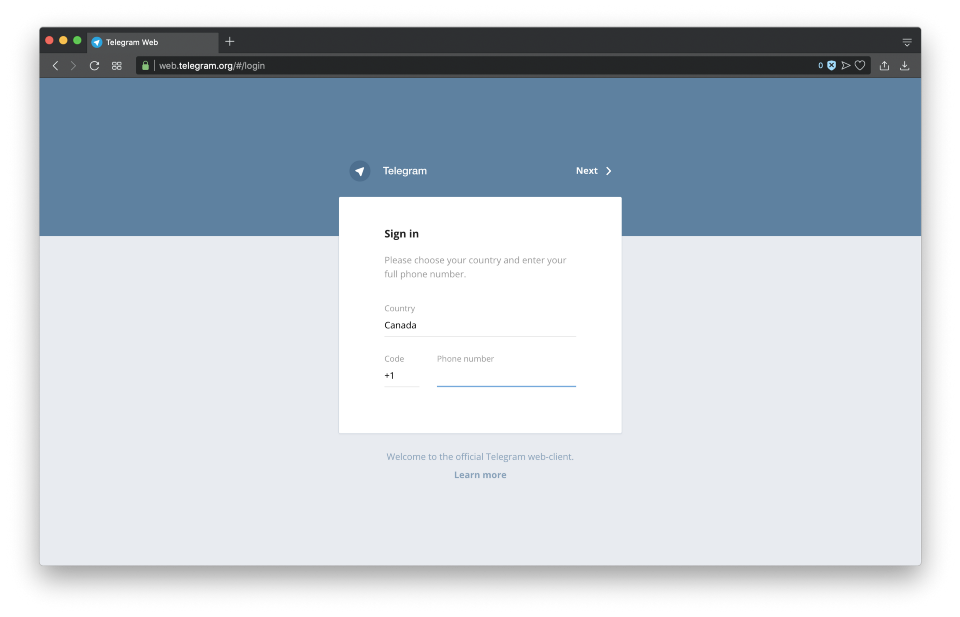 نسخه وب تلگرام