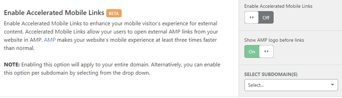 Cloudflare-enable-AMP-links