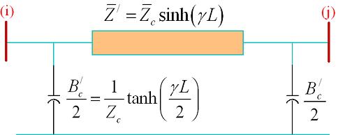 مدار معادل $$\pi$$ یک خط انتقال بلند که بین دو شین $$i$$ و $$j$$ قرار دارد