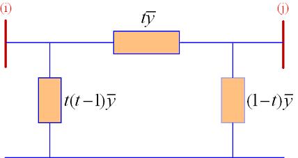 مدار معادل یک ترانسفورماتور تنظیم با نسبت دور $$1:t$$