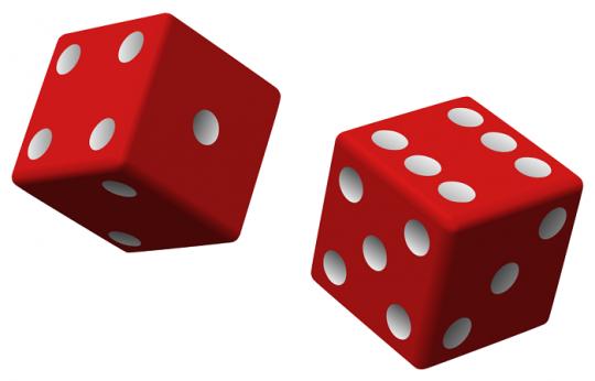 تولید اعداد تصادفی واقعی با تاس Two_red_dice