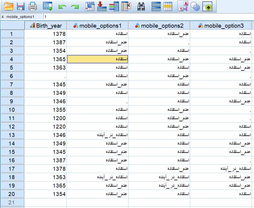 data set values