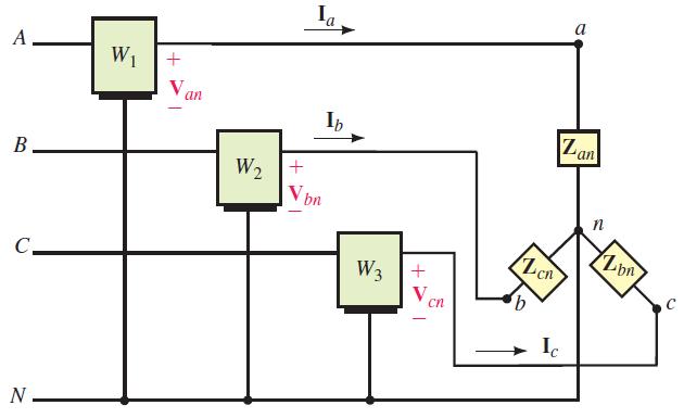 اتصال سه واتمتر برای یک بار چهارسیمه