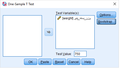 one sample t test analysis in spss example1