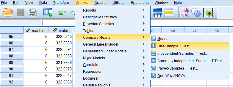 one sample t test in spss