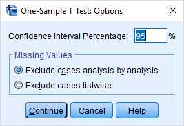 one sample t test - options