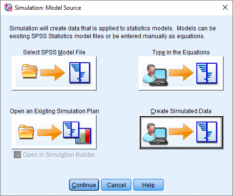 simulation dialog in SPSS