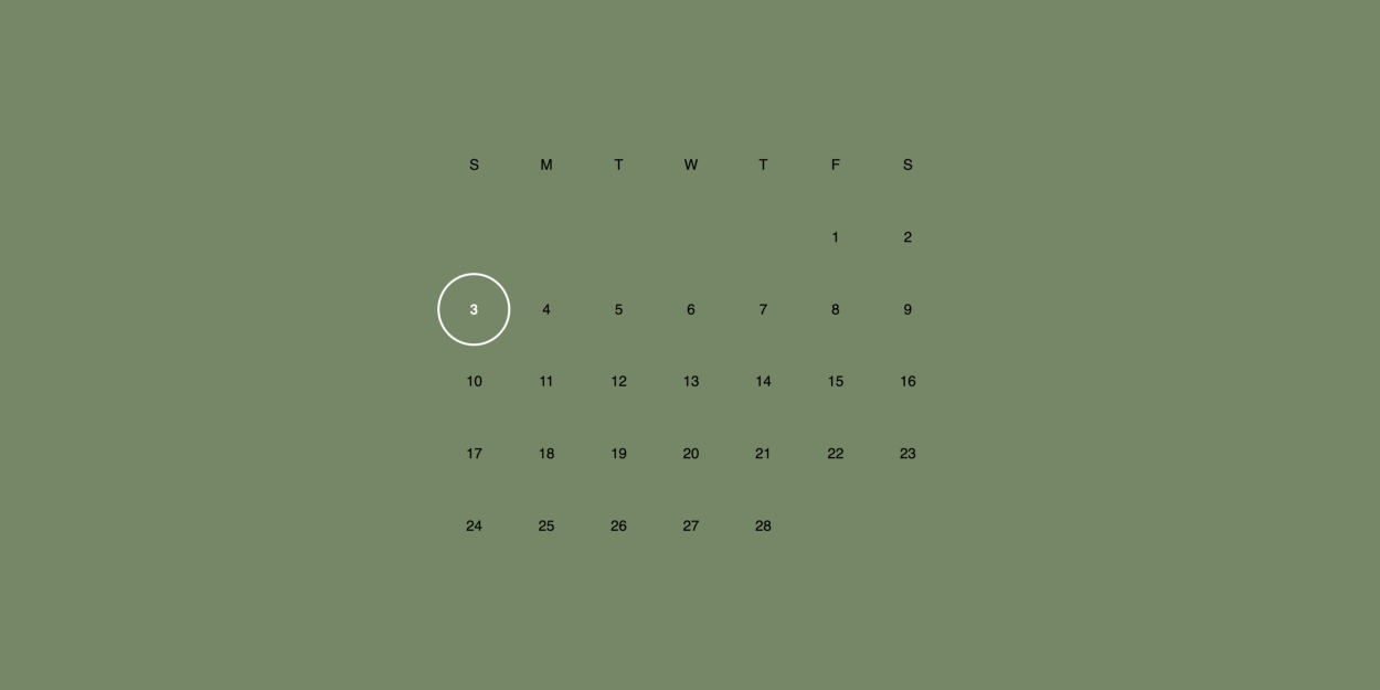 Simple Calendar Layout with CSS Grid
