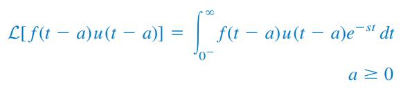 خاصیت شیفت زمانی تبدیل لاپلاس