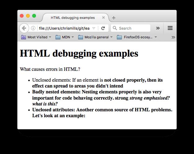 دیباگ HTML