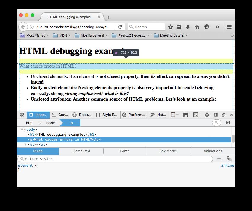 دیباگ کدهای HTML