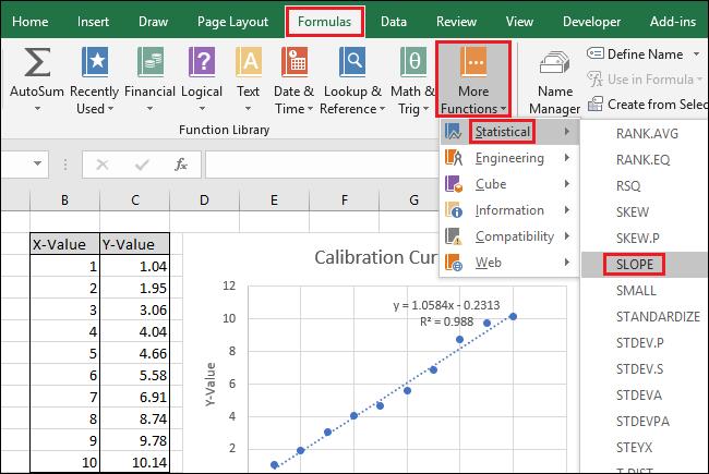 کالیبراسیون خطی در Excel