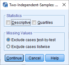 two independent sample tests spss options