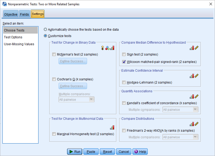 wilcoxon test in spss modern dialog settings