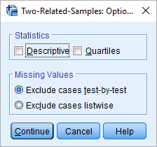 wilcoxon test in spss option