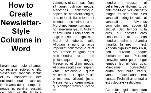 ستون های خبرنامه در ورد