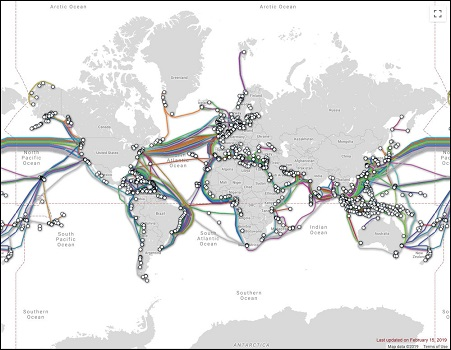 نقشه جهانی فیبر نوری