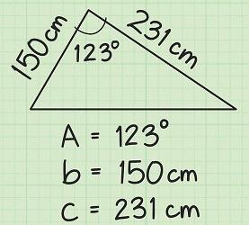 محاسبه مساحت از سینوس زاویه