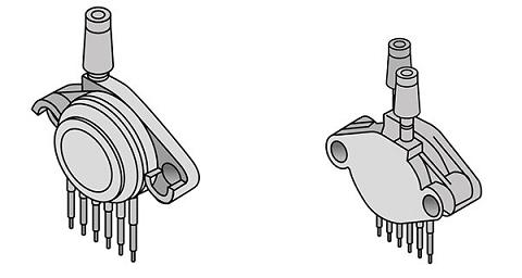 شماتیکی از سنسور فشار گیج و سنسور فشار اختلافی دارای دو پورت ورودی