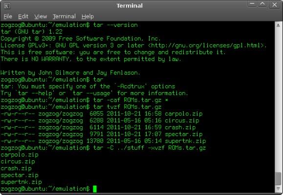 دستور tar در لینوکس