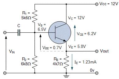مدار معادل تقویتکننده کلکتور مشترک با بار متصل
