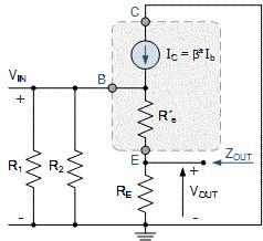 مدار معادل AC تقویتکننده از دید خروجی