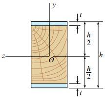 سطح مقطع یک تیر کامپوزیتی متشکل از یک بخش چوبی و دو صفحه فلزی