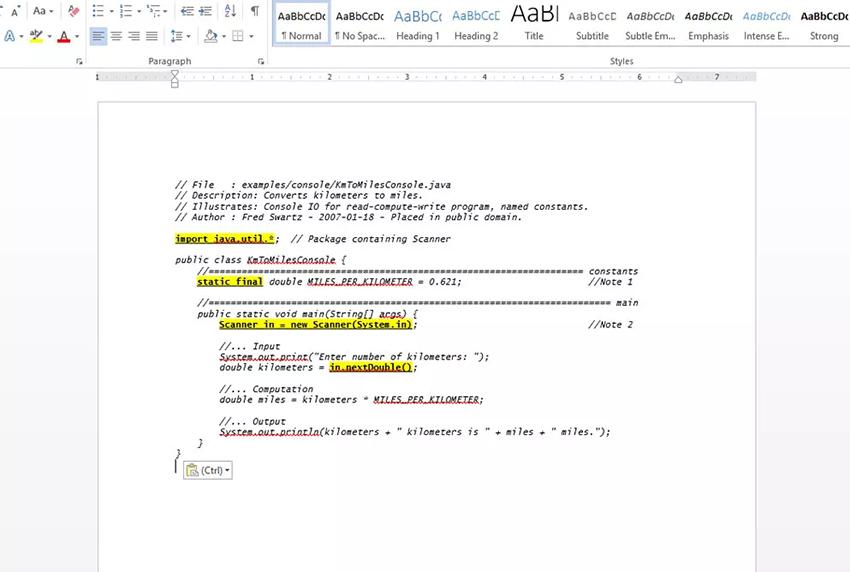 نوشتن کد در ورد
