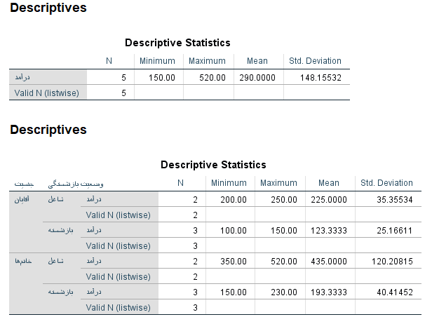Descriptive Statistics with Split File