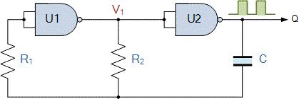 مولتی ویبراتور آستابل با گیت NAND