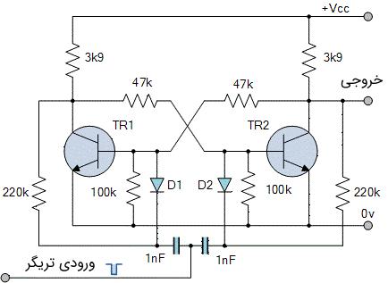 مدار یک مولتی ویبراتور بای استابل با کلیدزنی ترتیبی