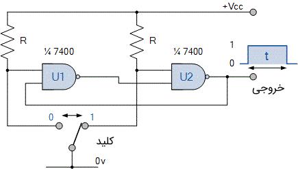 مدار مولتی ویبراتور بای استابل گیت NAND