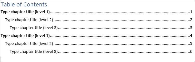 مدیریت فهرست مطالب در ورد