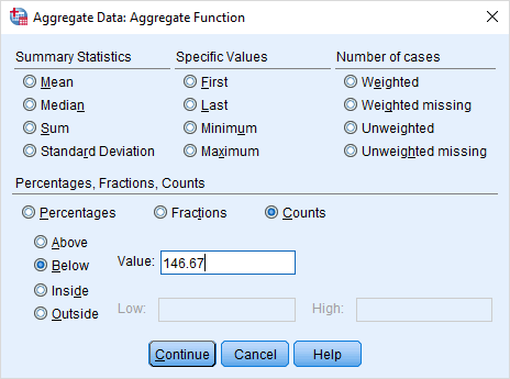 Aggregate Data dialog q2