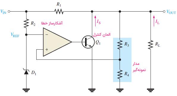 مدار ساده رگولاتور شنت با استفاده از اپ امپ