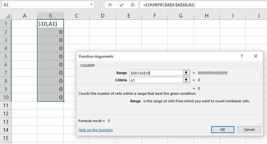 countif parameters