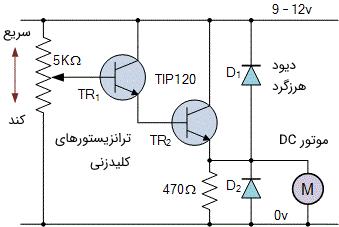 مدار کنترل سرعت موتور DC