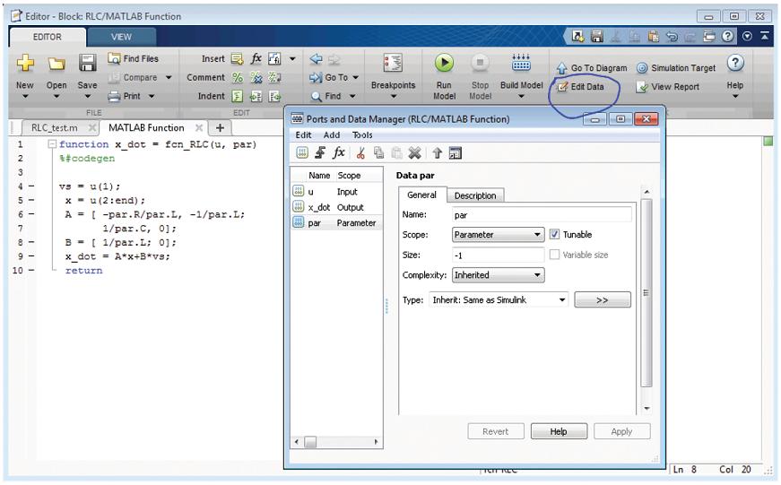 شکل ۴: تنظیم ورودی تابع توکار متلب به عنوان یک پارامتر